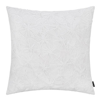 Hand Appliqued Cotton Pillow - 50x50cm - White