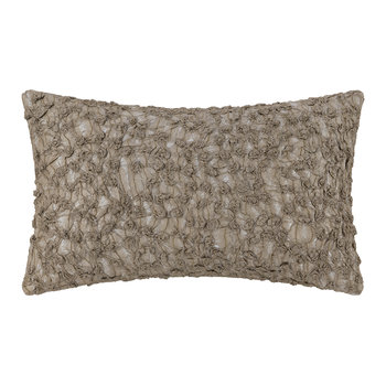 Embroidered Textured Pillow - Ivory/Mushroom - 30x50cm