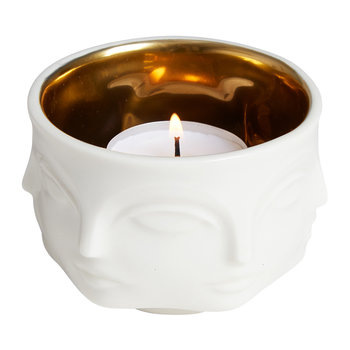 Muse Gold Interior Votive Holder - White