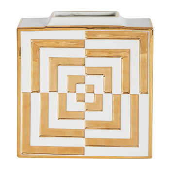 Futura Op Art Square Vase - Gold