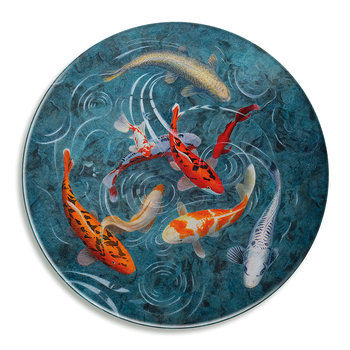 Graham Banister - A Pond Of Koi Fish - Glass Platter