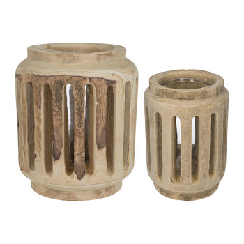 Slotted Wooden Hurricane Lamp