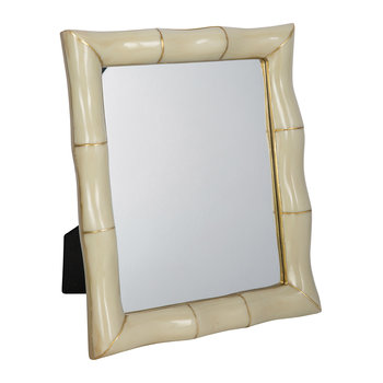 Bamboo Effect Mirror - White/Gold - 17x12.5cm
