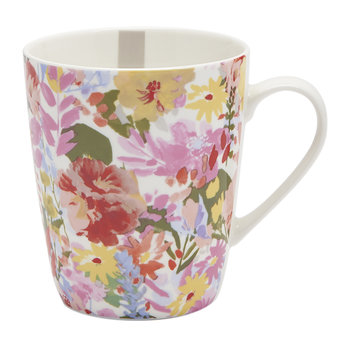 Hollyhock Meadow China Mug - White Floral