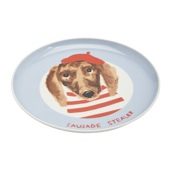 Mischievous Mutts Side Plate - Blue Dog