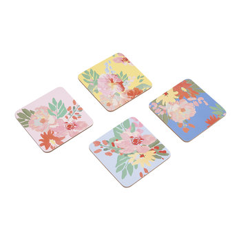 Hollyhock Meadow Blue Floral Coasters - Set of 4