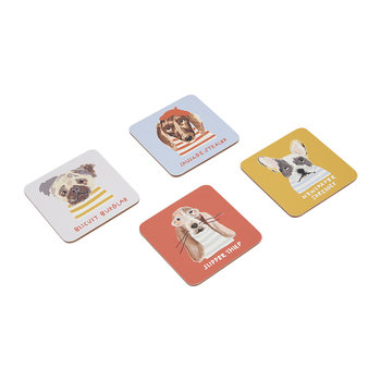 Mischievous Mutts Gold Dog Coasters - Set of 4