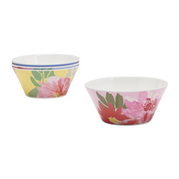 Hollyhock Meadow Garden Bowls - Set of 4 - Blue Floral
