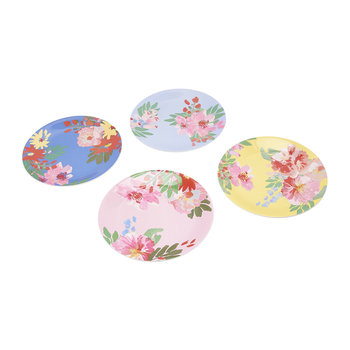 Hollyhock Meadow Garden Plates - Set of 4 - Blue Floral