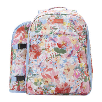 Four Person Picnic Rucksack - White Floral