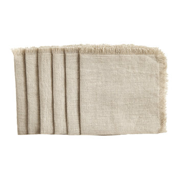 Solid Linen Square Natural Cocktail Napkins - Set of 6