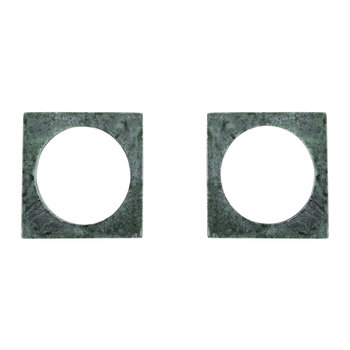Modernist Marble Napkin Rings - Set of 2 - Green