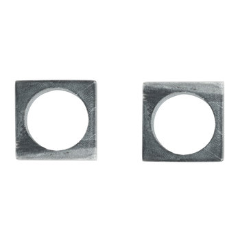 Modernist Marble Napkin Rings - Set of 2 - Grey