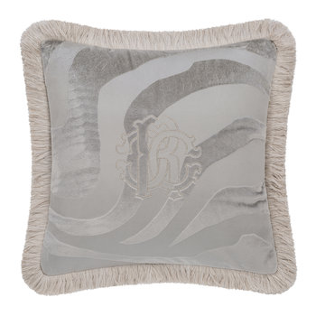 Macro Zebrage Monogram Cushion - 40x40cm - Grey