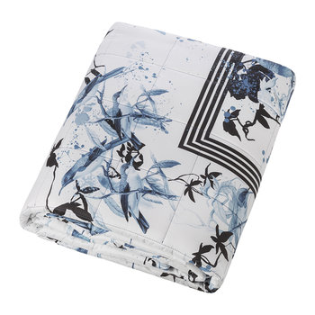 Bird Ramage Quilted Bedspread - 270x260cm - Blue