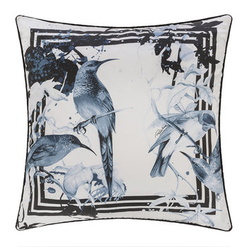 Bird Ramage Silk Pillow - Blue