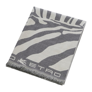 Parrish Zebra Fringed Throw - 140x180cm - Grey