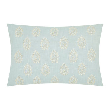 Giselle Embroidered Cushion - 50x30cm - Duck Egg