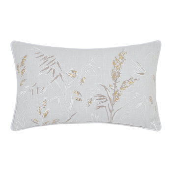 Tuileries Embroidered Pillow - 30x50cm - Linen/Gray
