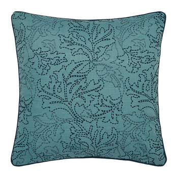 Pink and Rose Embroidered Cushion - 40x40cm - Teal
