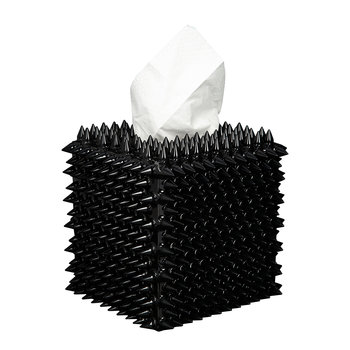 Spikes Tissue Box - Black/Red