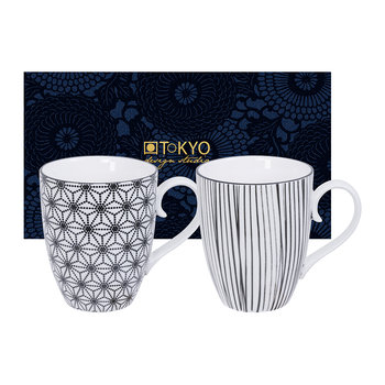 Nippon Black Mug Set - Set of 2 - Star/Lines