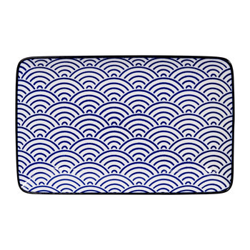 Nippon Blue Rectangular Plate - Wave