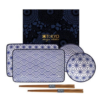Nippon Blue Sushi Plate Set - Wave/Star
