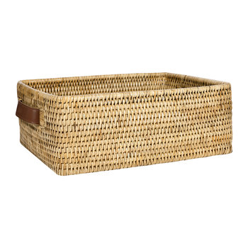 Rectangular Basket with Leather Handles - Natural