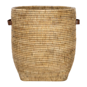 Laundry Basket with Leather Handles - Natural