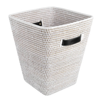 Square Waste Bin with Leather Handles - White