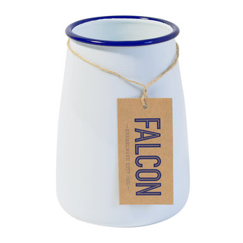Utensil Pot - White with Blue Rim