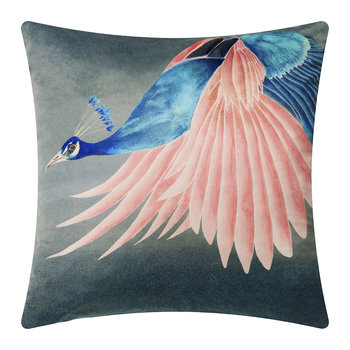 Flying Peacock Velvet Cushion - 45x45cm