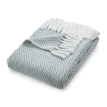 Herringbone 100% Recycled Throw - Sky Gray