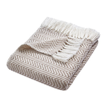 Herringbone 100% Recycled Throw - Natural