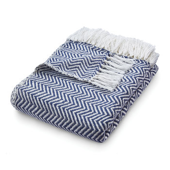 Herringbone 100% Recycled Throw - Navy