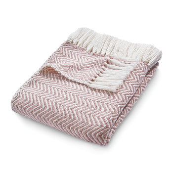 Herringbone 100% Recycled Throw - Rose