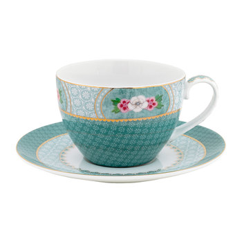 Blushing Birds Cappuccino Cup & Saucer - Blue