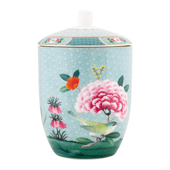 Blushing Birds Storage Jar - Blue