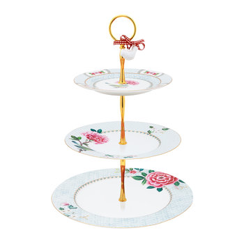 Blushing Birds 3 Tier Cake Stand - White