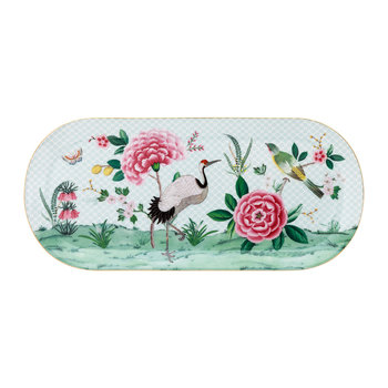 Blushing Birds Rectangle Cake Tray - White