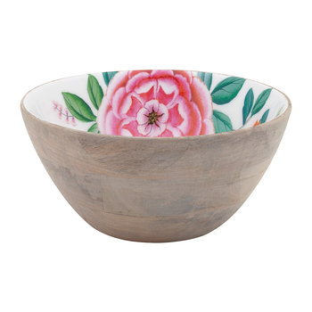 Blushing Birds Wooden Salad Bowl - 24cm - White