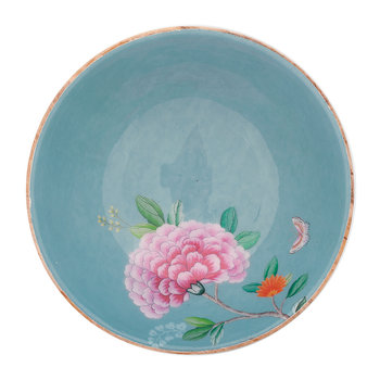 Blushing Birds Wooden Salad Bowl - 28cm - Blue