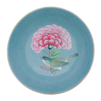 Blushing Birds Wooden Serving Bowl - Blue
