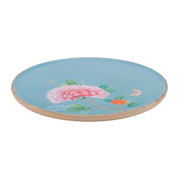 Blushing Birds Wooden Serving Plate - Blue