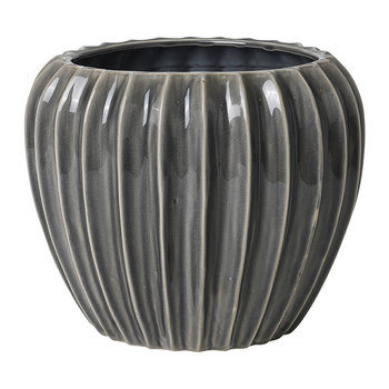 Wide Ceramic Flowerpot - Smoked Pearl