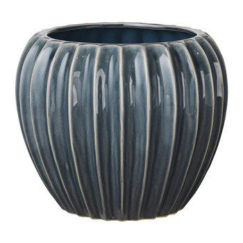 Wide Ceramic Flowerpot - Blue Mirage