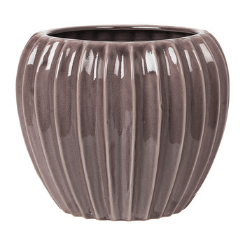 Wide Ceramic Flowerpot - Minimal Grey