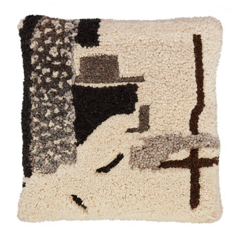 Abstract Hand Tufted Pillow - 45x45cm - Gray