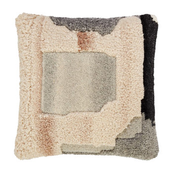 Abstract Hand Tufted Cushion - 45x45cm - Natural